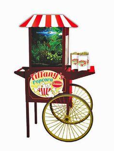 Tiffany's popcorn prop  Vintage popcorn maker with built-in fish tank and logo design    propsga.com