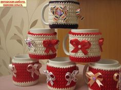 Fast Crochet, Crochet Home, Crochet Gifts, Christmas Cover, Christmas Jars, Christmas Crafts, Crochet Projects, Sewing Projects, Crochet Mug Cozy