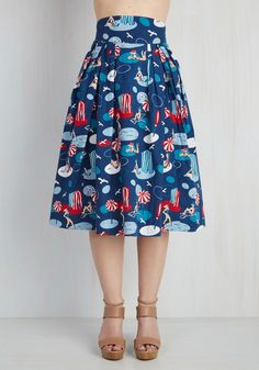 Far-Out and Fabulous Skirt in Seaside. Looking for more retro options in your closet? #blue #modcloth $80