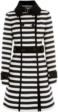 KAREN MILLEN ENGLAND Graphic Stripe Coat black white