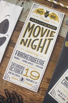 movie night invitation. party invitation. invitation. movie night. scary. kid-friendly. friends.