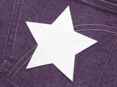 Stern (Größe L) weiß Bügelmotiv Applikation 90mm  von Silwarin auf DaWanda.com