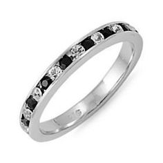 Zaria: Stackable Russian Black & Clear Ice CZ Eternity Band Ring