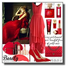 """Red Gowns"" by asiyaoves ❤ liked on Polyvore featuring Chicwish, Charlotte Tilbury, Kate Spade, Bulgari, Estée Lauder, Urban Decay, Yves Saint Laurent, Chanel, red and EmmaWatson"