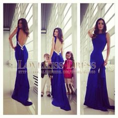 Sexy Scoop Neck Sleeveless Backless Royal Blue Mermaid Fitted Long Prom Dresses 2014 DYQ1075 $123.75