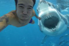 James Crowlett, 34, was on his honeymoon. He just wanted to go for a quick dip, take a selfie underwater and show off to his friends. The photo was uploaded to his Facebook page automatically, and unfortunately that shark was real. As you can see in the photo the shark is ready to strike, and it did just a moment later. It tore of Crowlett's leg off before lifeguards managed to get to him. He died on the way to the hospital after losing massive quantities of blood.