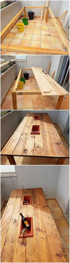 This is such funky table furniture that would add your house with the colorful impacts. This wood pallet table design setting is contributed in offering with the wine storage that has been settled in the middle of it. This will simply look something really different. See how creative it is!