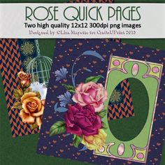 Beautiful Roses Quick Pages - Two high quality 300 dpi 12x12 quick pages with roses. One page is a mellow and romantic vignette featuring golden roses and a released white dove on a houndstooth and longevity frame. The second page features a red, pink and yellow trio of roses with periwinkle wildflowers with an art nouveau frame on a purple background with orange hearts.  Art by Hafapea, Ragesh & Jaguawoman.  #DesignerResources #CU4CU #Scrapbooking #DigiScrap #CraftsUPrint #LisaMayette…