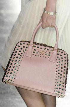 Love this studded pink Prada bag. #handbags #purses