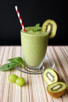 A healthy Green Smoothie with the goodness of kiwi, grapes, spinach and perfectly flavored with mint.
