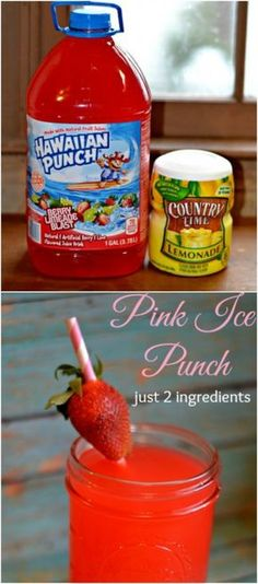 Pink Ice Punch, just 2 ingredients & it's so yummy! | @thathousewife MrsHappyHomemaker.com