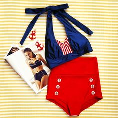 Set your sails for the high seas of summertime style with this retro inspired swimwear! #trashydiva #fablesbybarrie #nautical #vintageinspiredswimwear