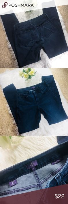 NYDJ Dark Wash Stretch Legging Jeans Not your Daughters Jeans (NYDJ) stretchy dark wash leggings jeans. Size 4, measurements are as pictured. Excellent condition. Cotton, spandex, polyester blend. Super duper comfy! Shoot me an offer for a deal! :) NYDJ Jeans Skinny