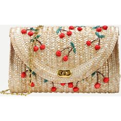 Beige Cherry Applique Straw Chain Bag ($14) ❤ liked on Polyvore featuring bags, handbags, clutches, purses, bolsos, beige, brown handbags, brown satchel handbag, shoulder hand bags and brown purse