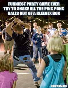 Art The shake-all-the-ping-pong-balls-out-of-the-kleenex-box-in-a-minute game. This would be HILARIOUS for a bachelorette party game! the-bachelorette-party-i-wanna-throw Fun Teen Party Games, Funny Party Games, Fun Games, Sleepover Party, Group Games, Funny Wedding Games, Engagement Party Games, Crazy Games, Diy Party Games Indoor
