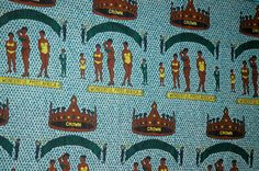 "A ""Fancy"" (one sided) Wax print cotton fabric.  It's unclear if this refers to the ""Miss Africa"" contest started by the AU in the early 60s, or a ""Miss Africa"" contest  was organized by South Africa's ""Drum Magazine"" through the 1950s, and popular throughout Anglophone Africa.  Or it could be something else entirely.  The seller, not a longtime owner, thought it was from Liberia.  There are no marks.  The blue crinkle pattern is typical of West ..."
