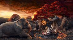 Saddhu by Konstantin Honcharov Romanticism, Unique Image, Shutter Speed, Mystic, Scenery, Art Gallery, Digital Art, Elephant, The Incredibles
