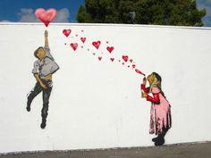 Love, by Banksy, street art Street Art Love, Best Street Art, Amazing Street Art, Murals Street Art, Street Art Banksy, Banksy Graffiti, Bansky, Urbane Kunst, Arte Popular
