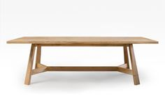 Blackbutt table with splayed legs and angled stretcher base. Calm & soothing lines with a slight Japanese feel. Timber Dining Table, Contemporary Dining Table, Concrete Table, Dining Table Legs, Dining Table Design, Wood Table, Table And Chairs, Handmade Furniture, Furniture Ideas
