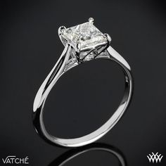 """Absolutely simple and STUNNING!!! <3  Named after the Arabic word meaning """"Ray of light"""" the Vatche """"Inara"""" Solitaire Engagement Ring for Princess Cut Diamonds is one brilliant addition to our Serenity Collection.    #Whiteflash #Verragio"""