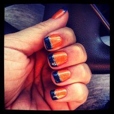 Denver Broncos! Denver Broncos Nails, Football Nails, Bronco Football, Baseball Nails, Love Nails, Pink Nails, Pretty Nails, Creative Nail Designs, Creative Nails