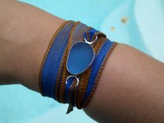 Sea Glass BraceletAnklet Choker Hand Dyed by JulieAndersonDesign, $59.00