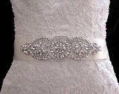 Bridal Wedding Sashes Beaded Jeweled Crystal Belt Sash Brooch Embellishment appliqué. $150.00, via Etsy.