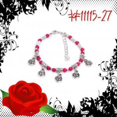 Handmade RED and SILVER bead bracelet  ROSE 11115-27 #handmade #cHANDaMADE #fashionJewelry #fashion #jewelry #rose #bracelet     Sold Out!!!