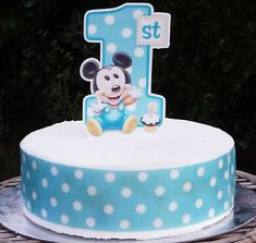Mickey Mouse spotted first birthday Cake or cupcake Toppers baby boy Birthday Cartoon, Boy Birthday, Happy Birthday, Birthday Cake, Baby Mickey Mouse Cake, Cakes For Boys, Marzipan, Cupcake Toppers, First Birthdays