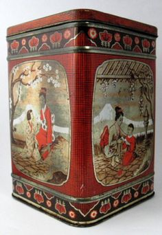 Biscuit Tin Oriental Mother Children Large Made England Tea Tin 50s