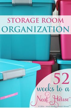 Week 2 of This week we will focus on storage room organization. Whether you have a garage, basement, attic, closet or all of them, it is time for an overhaul. Storage Room Organization, Attic Storage, Storage Ideas, Basement Storage, Crate Storage, Basement Ideas, Food Storage, Storage Solutions, Attic Playroom