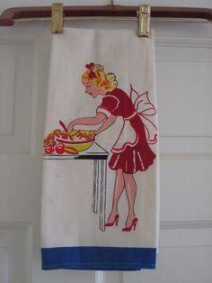 Vintage Kitchen Towel Pretty Maid Preparing Salad in by NeatoKeen
