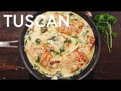 Creamy Garlic Butter Tuscan Salmon (or fish) is such an incredible recipe! Restaurant quality salmon in a beautiful creamy tuscan sauce! Seafood Risotto, Seafood Bisque, Seafood Cioppino, Salmon And Shrimp, Butter Salmon, Baked Salmon Recipes, Fish Recipes, Healthy Cooking, Seafood
