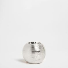 Silver-Plated Striped Ceramic Tealight Holder - Tealights - Decoration | Zara Home United Kingdom