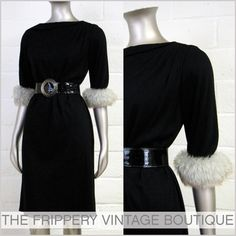 Vtg 60s Chic Faux Fur Cuff Little Blk Cocktail Dress