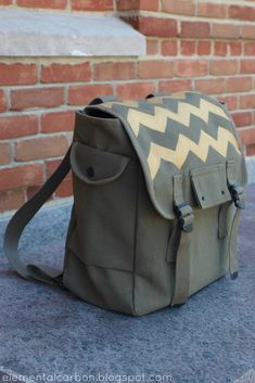 Elemental Carbon: Gold Chevron Army Backpack DIY