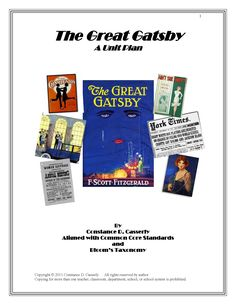 This unit is 54 pages of engaging and thought-provoking activities. It is aligned with Common Core Standards and Bloom's Taxonomy. Activities include: daily lessons, 25 Introduction to The Great Gatsby Research Topics, 27 worksheets, journal, essay and exit topics, assessments and projects The lessons and activities in  are sure to motivate students to jump into F. Scott Fitzgerald's world on Long Island's North Shore.   http://www.teacherspayteachers.com/Product/The-Great-Gatsby-Unit-Plan $