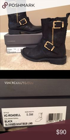 Vince Camuto leather Moto boots size 5.5 Almost new, worn twice Vince Camuto soft leather moto boots.  Size 5.5 Vince Camuto Shoes Combat & Moto Boots