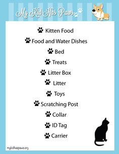 Wordless Wednesday: Adopt A Cat Month. A checklist that provides everything you need for bringing a new cat or kitten into your home.