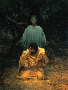 Gethsemane by James Christensen - (Luke 22: 43-44 KJV) And there appeared an angel unto him from heaven, strengthening him. And being in an agony he prayed more earnestly: and his sweat was as it were great drops of blood falling down to the ground.