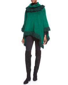 Textured Looped Fringe Poncho & Ankle-Zip Leggings by Dolce & Gabbana at Neiman Marcus.