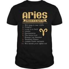 An Aries Funny Quote Cool  T-shirt Design