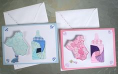 """Baby Greeting Card - Iris Paper Folding Card with Onesie and Baby Bottle, Boy or Girl 4.5"""" X 6"""". $8.99, via Etsy."""