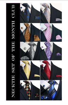 Necktie set of the month club membership make for a great gift, no matter the occasion. Silk necktie with pocket square and cufflinks.