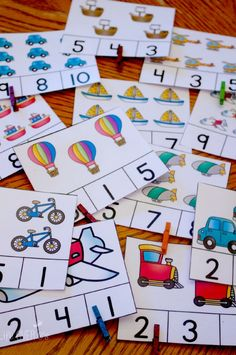 sets of free count and clip cards Over 25 sets of themed count and clip cards. great for preschool and kindergarten math centers!Over 25 sets of themed count and clip cards. great for preschool and kindergarten math centers! Preschool Centers, Numbers Preschool, Preschool Printables, Preschool Learning, Teaching Math, Math Activities, Kindergarten Counting, Number Recognition Activities, Teaching Numbers