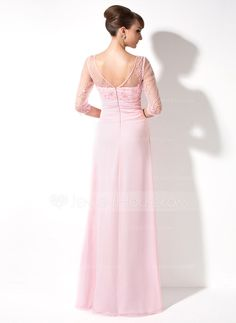 A-Line/Princess V-neck Floor-Length Ruffle Beading Sequins Zipper Up Sleeves 3/4 Sleeves No Blushing Pink Spring Fall General Plus Chiffon Mother of the Bride Dress