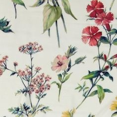 V& viscose natur med blomster Sewing, Plants, Fabrics, Bricolage, Nature, Weaving, Wallpapers, Flowers, Tejidos