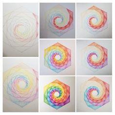 opzet geometrische regenboogmandala- met lyra kleurpotloden, lineaal, passer, geodriehoek, hb potlood.