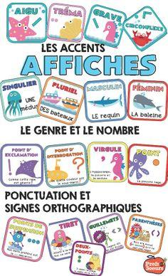 17 Affiches pour connaître les noms des accents, de la ponctuation, le genre , le nombre ...