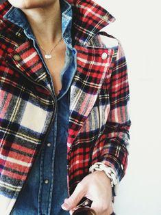 Plaid jacket, chambray